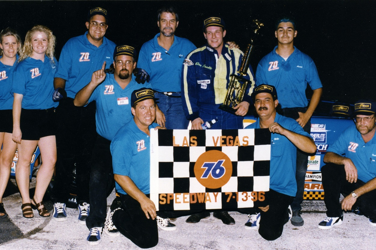 Chris Trickle and his team celebrating after a NASCAR Southwest Series win in 1996