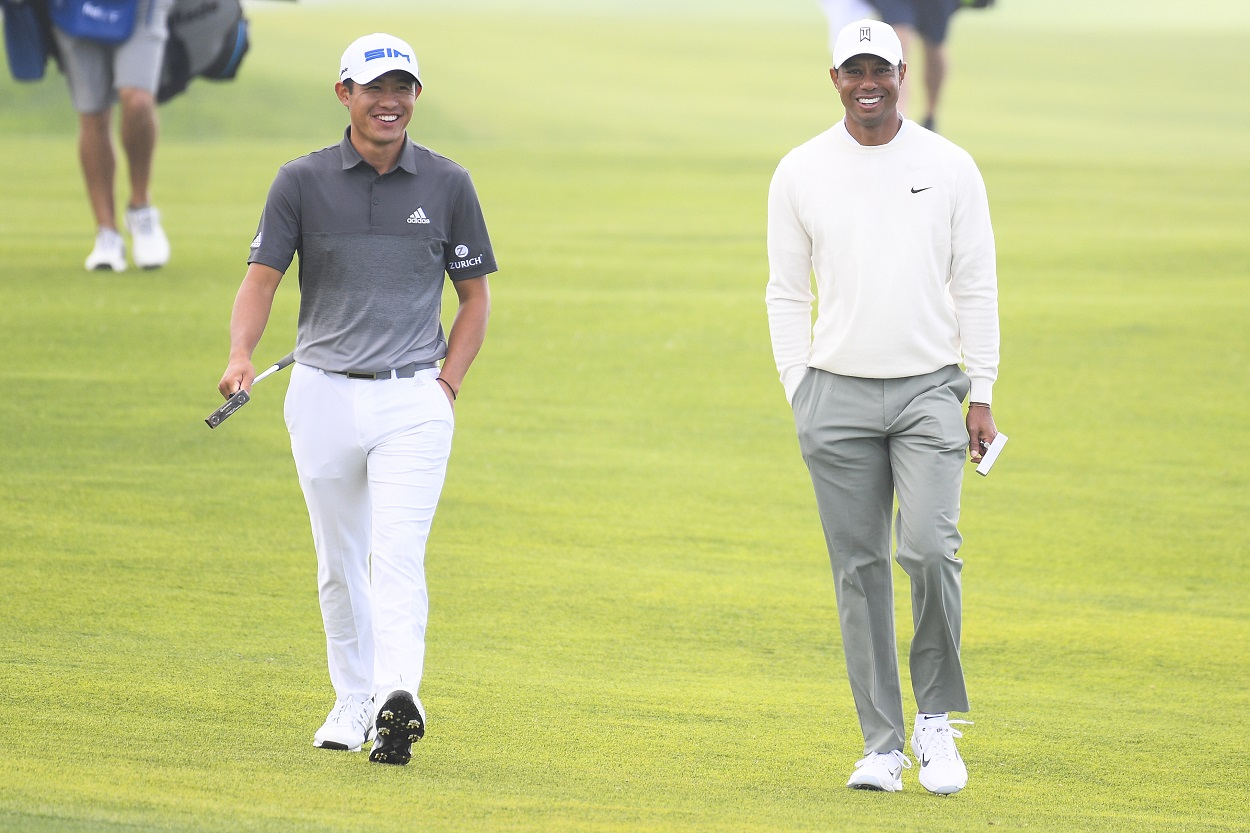Collin Morikawa and Tiger Woods at the 2020 PGA Tour Farmers Insurance Open