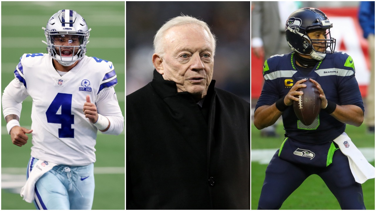 Dallas Cowboys quarterback Dak Prescott, Dallas Cowboys owner Jerry Jones, Seattle Seahawks quarterback Russell Wilson