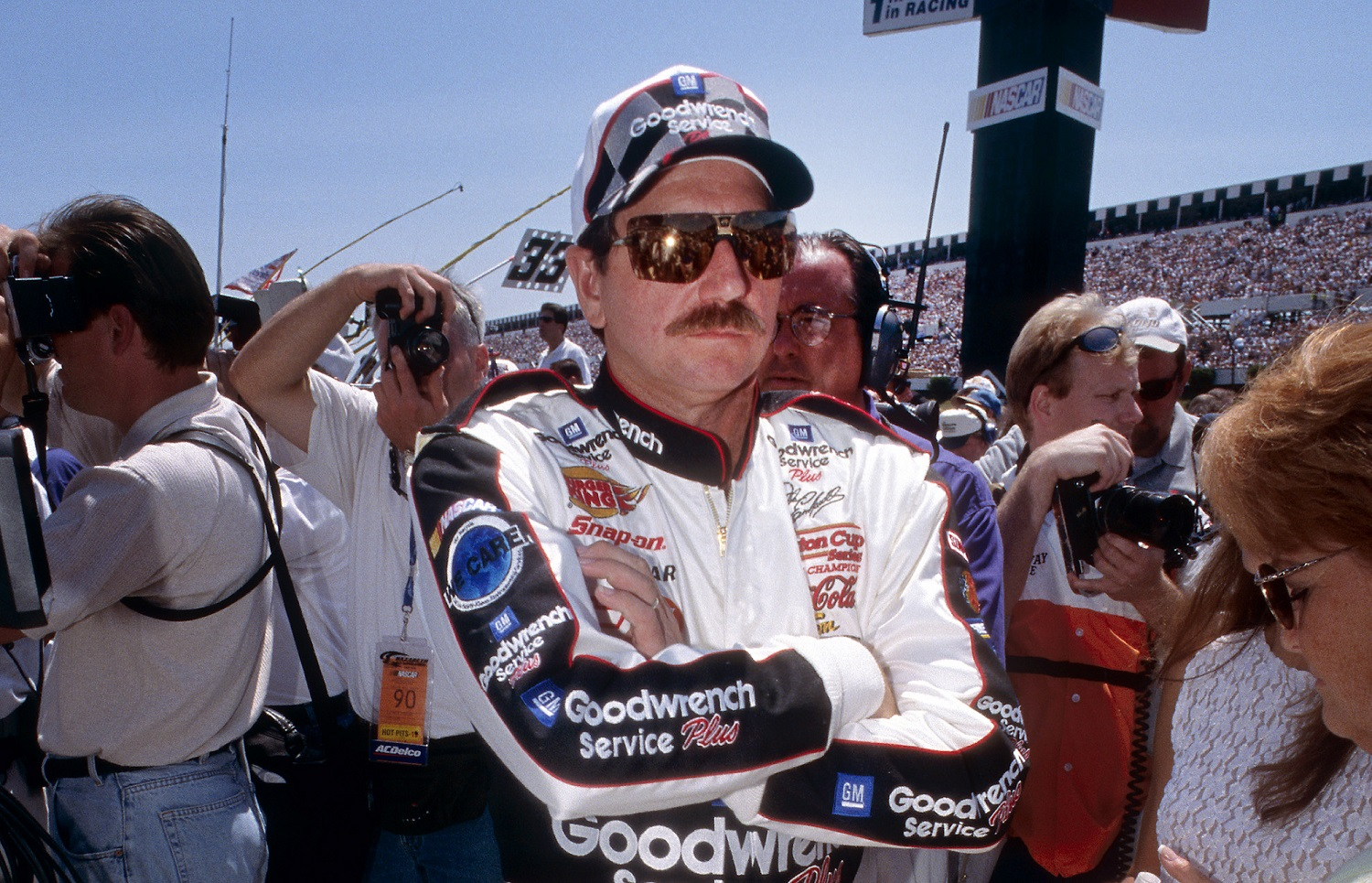 Dale Earnhardt in the infield before driver introductions for the 1999 Pocono 500 in the NASCAR Cup Series