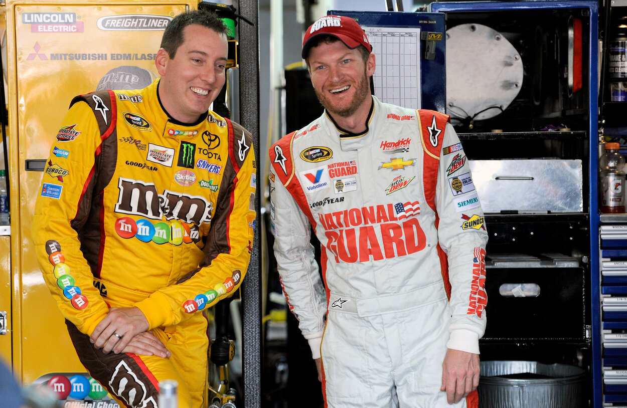 NASCAR drivers Kyle Busch (L) and Dale Earnhardt Jr. in 2014.