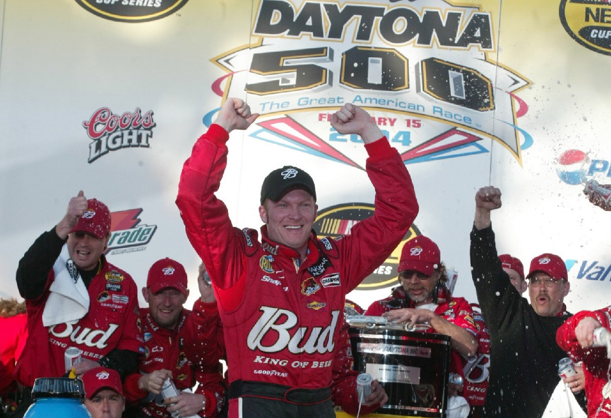 Dale Earnhardt Jr. celebrates his win at NASCAR's 2004 Daytona 500