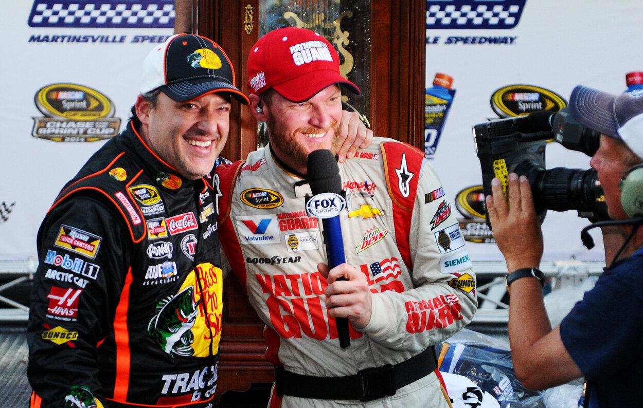 NASCAR drivers Dale Earnhardt Jr (R). and Tony Stewart in 2014.