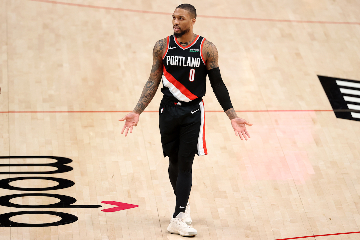 Portland Trail Blazers guard Damian Lillard reacts to a call
