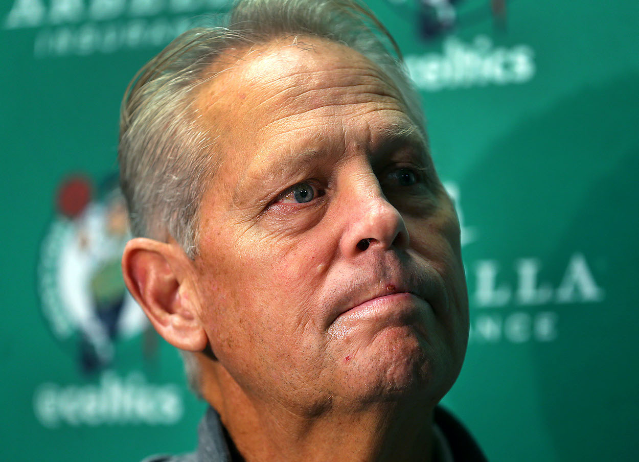 Boston Celtics general manager Danny Ainge answers questions at practice