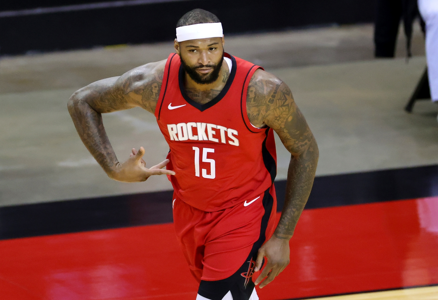 DeMarcus Cousins of the Houston Rockets reacts during the first quarter of a game against the LA Lakers.