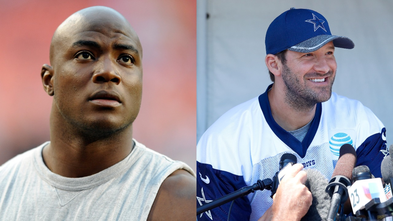 Former Cowboys players DeMarcus Ware and Tony Romo.