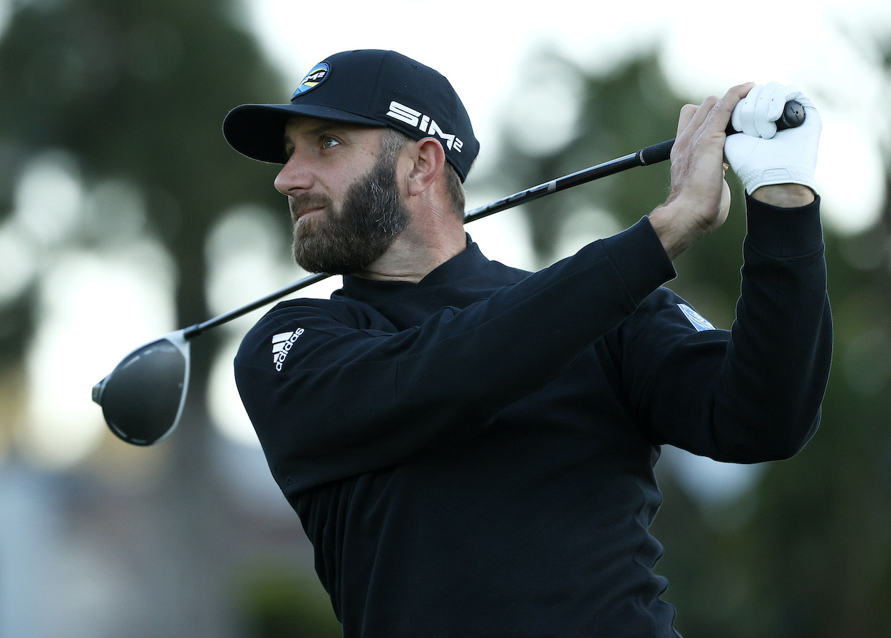Dustin Johnson plays a practice round at the Genesis Invitational