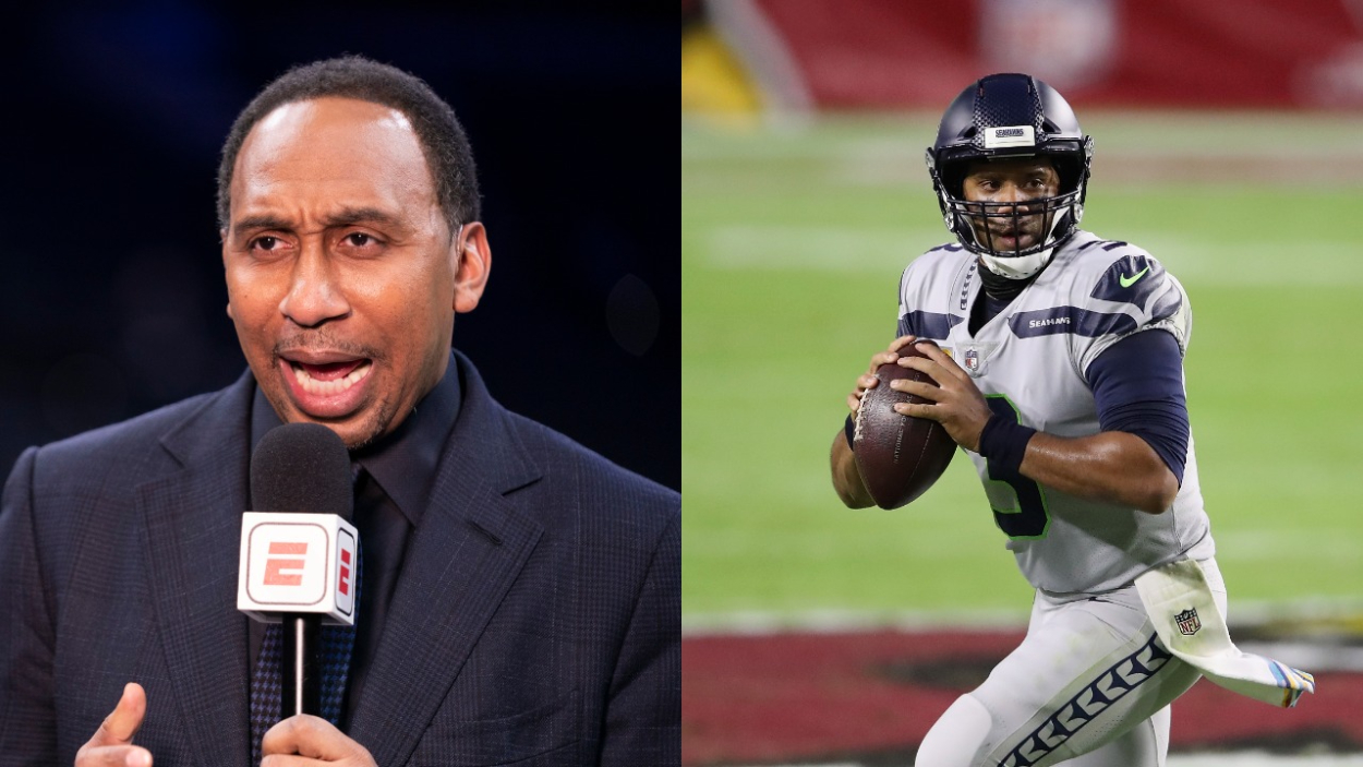 Stephen A. Smith of ESPN and Seattle Seahawks quarterback Russell Wilson.