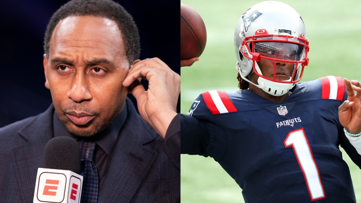 Stephen A. Smith of ESPN and New England Patriots quarterback Cam Newton.