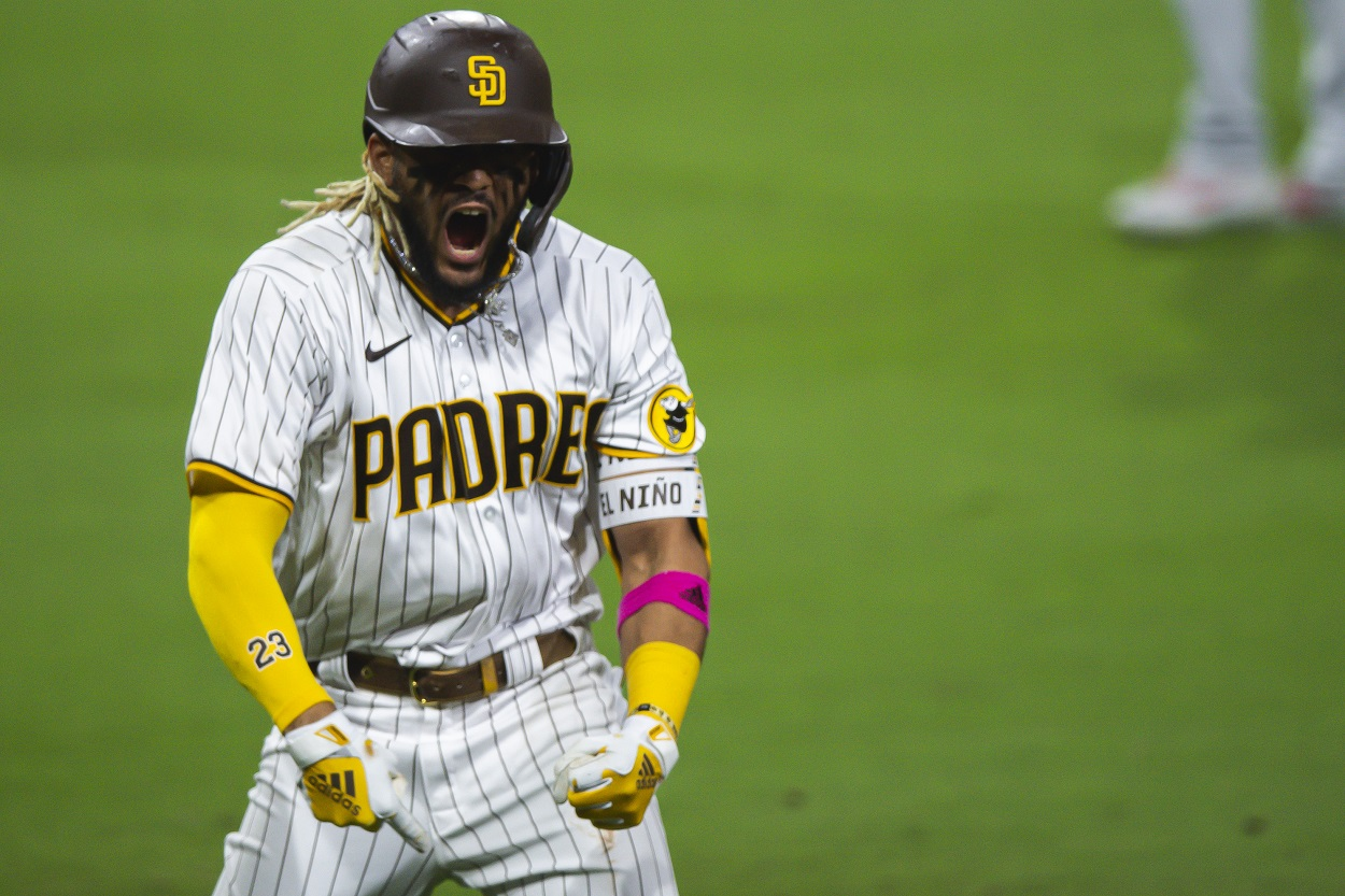 San Diego Padres star Fernando Tatis Jr. celebrates a home run during the 2020 NL wild-card round
