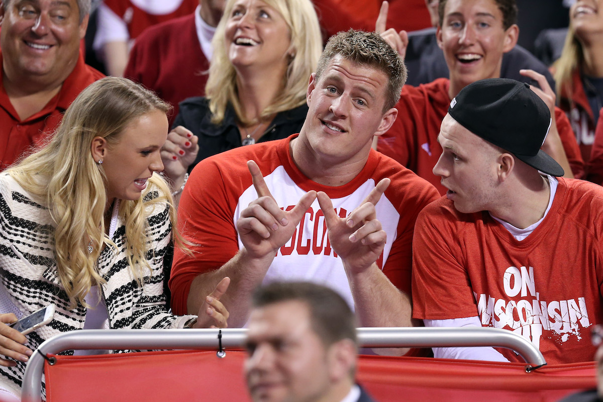 NFL player J.J. Watt shows love for his alma mater, The University of Wisconsin