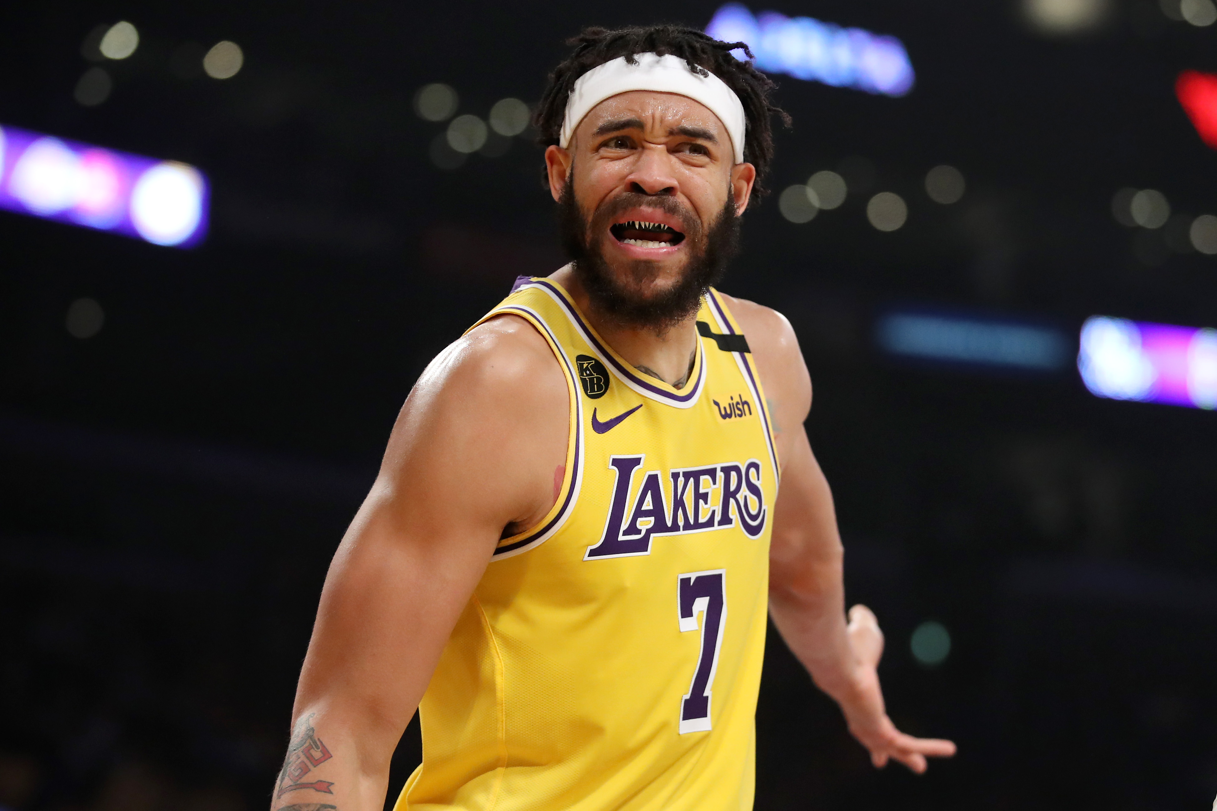 JaVale McGee of the Los Angeles Lakers reacts to a play