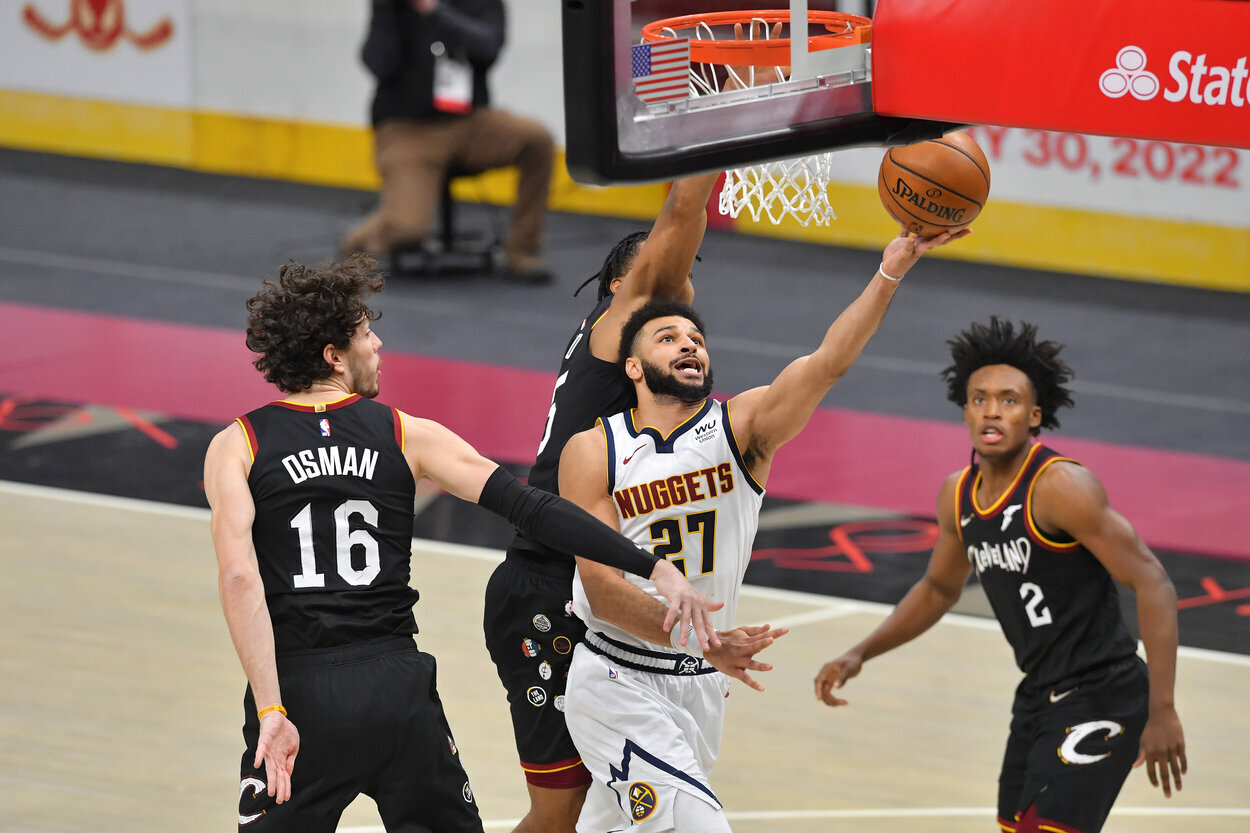 Denver Nuggets point guard Jamal Murray during a 2021 game against the Cleveland Cavaliers.