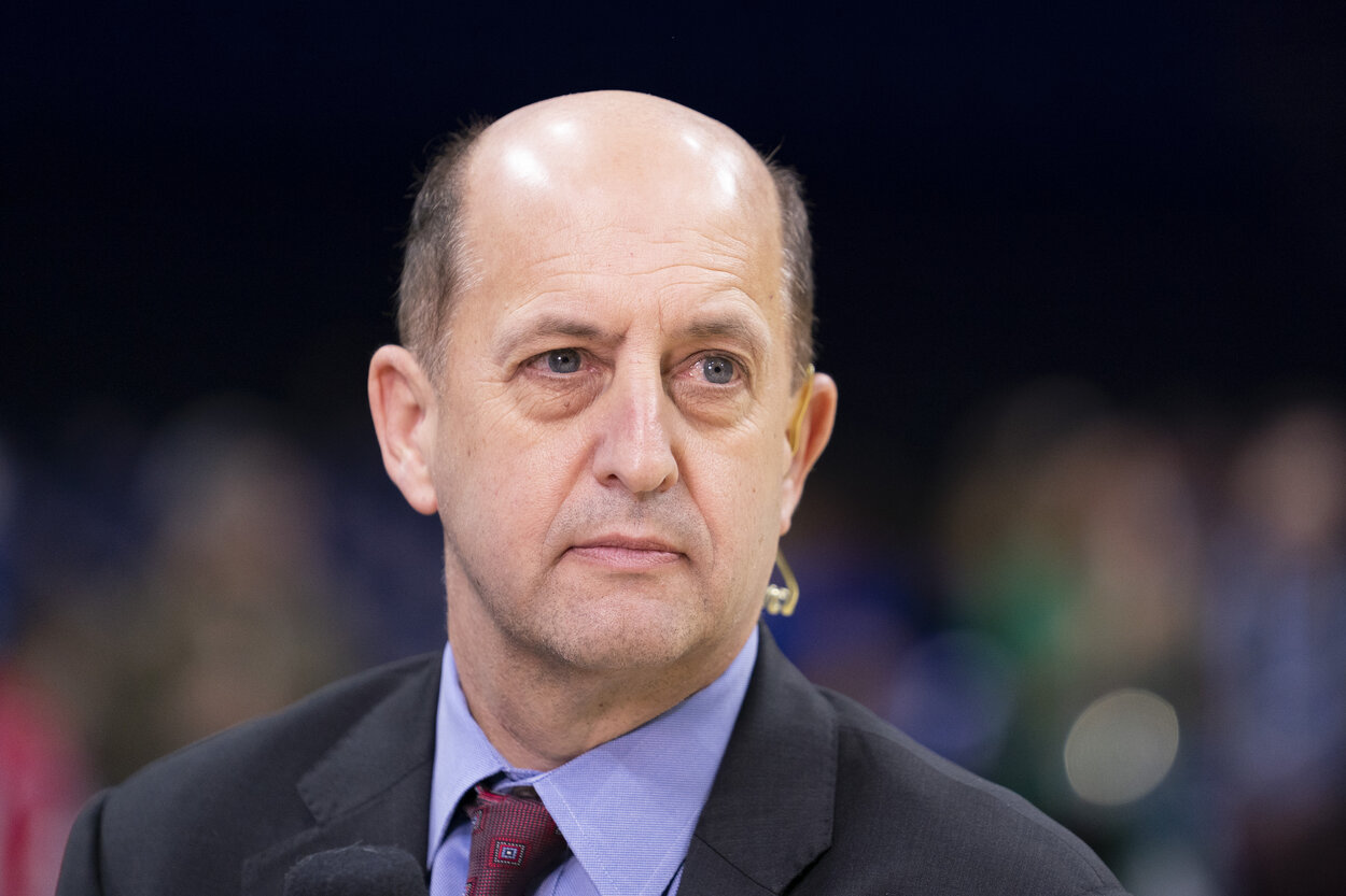 PHILADELPHIA, PA - DECEMBER 18: ESPN analyst Jeff Van Gundy looks on prior to the game between the Miami Heat and Philadelphia 76ers at the Wells Fargo Center on December 18, 2019 in Philadelphia, Pennsylvania. NOTE TO USER: User expressly acknowledges and agrees that, by downloading and/or using this photograph, user is consenting to the terms and conditions of the Getty Images License Agreement. (Photo by Mitchell Leff/Getty Images)