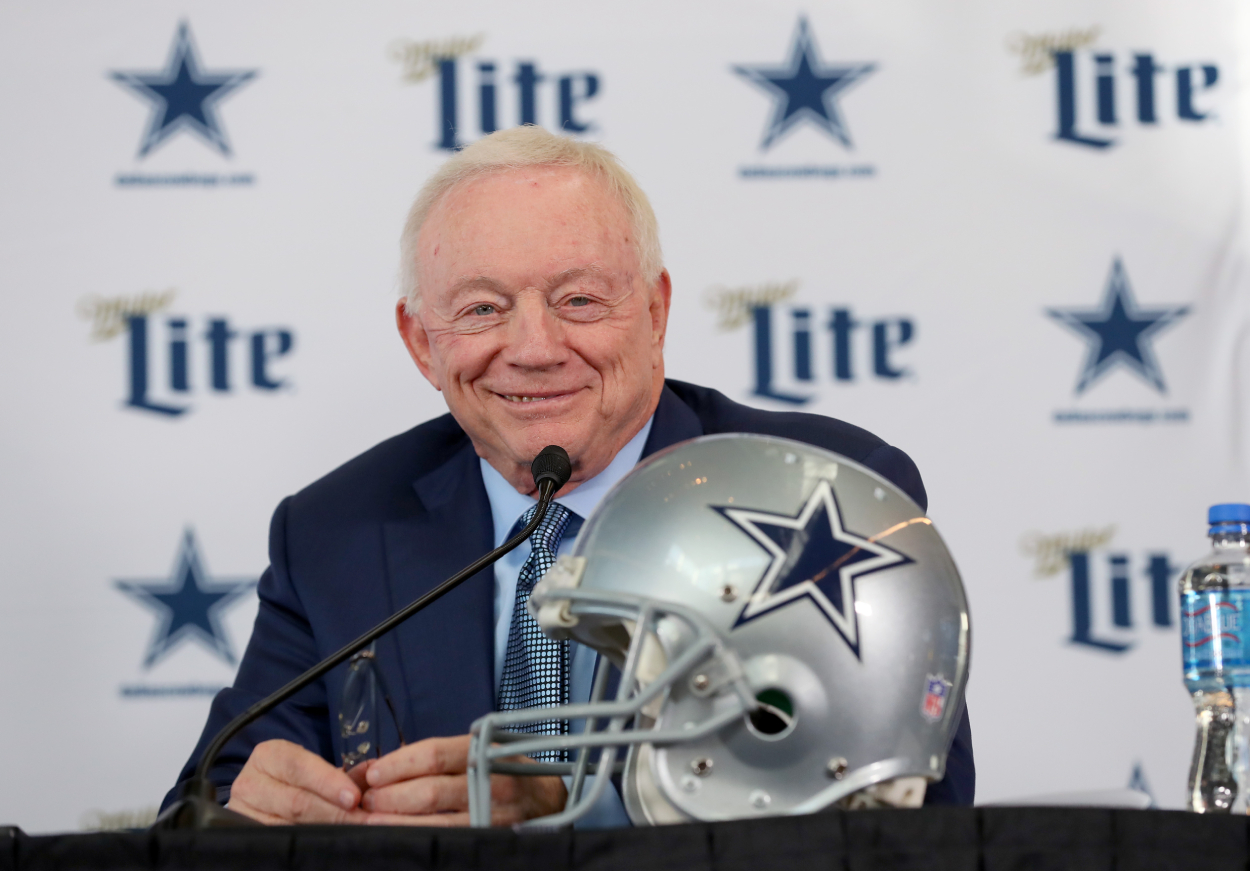 Cowboys owner Jerry Jones talks to the media.