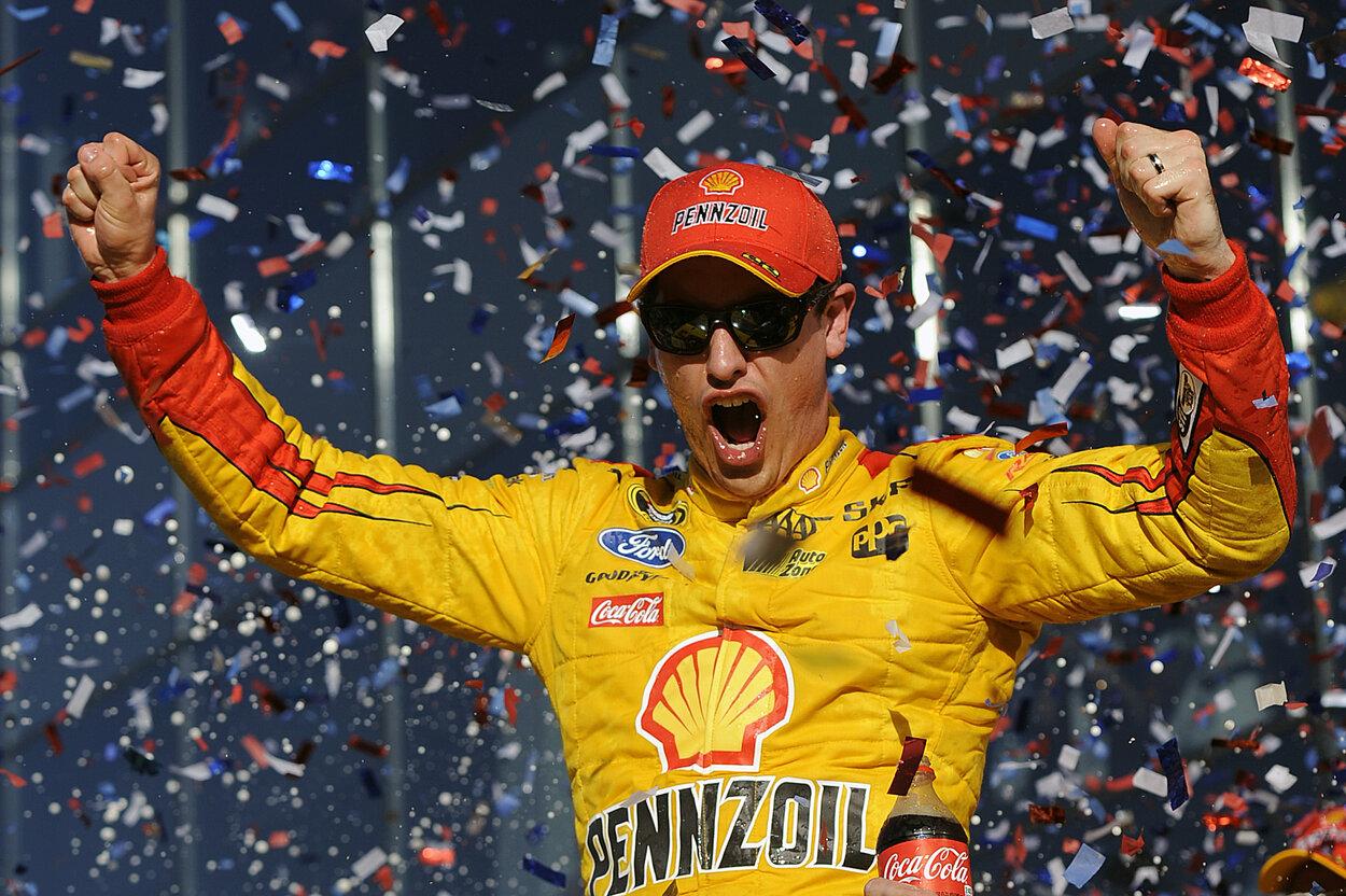 NASCAR driver Joey Logano celebrates winning the 2015 Daytona 500.