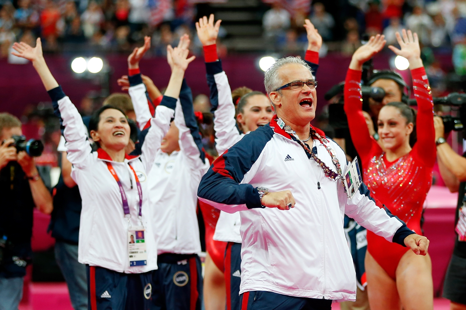 United States women's gymnastics coach John Geddert celebrates at the London 2012 Olympic Games.
