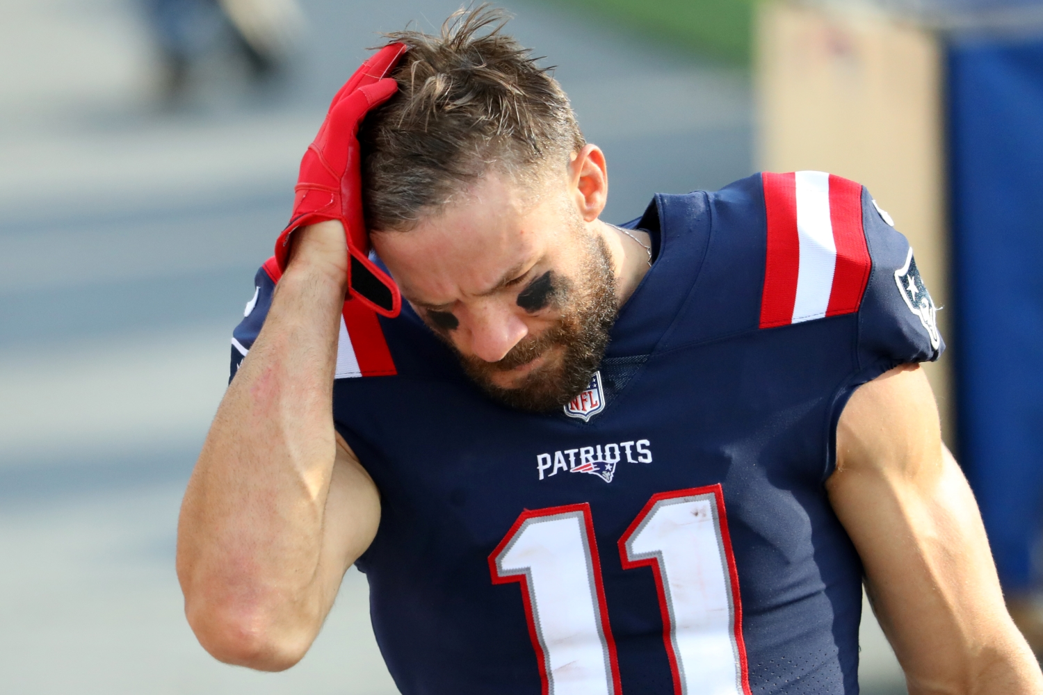 Julian Edelman of the New England Patriots looks on after the game against the Denver Broncos.