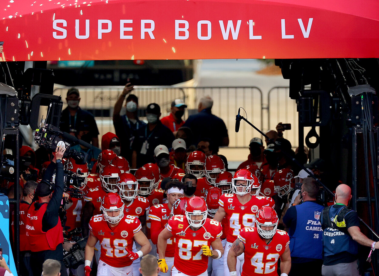 TAMPA, FLORIDA - FEBRUARY 07: The Kansas City Chiefs take the field before playing against the Tampa Bay Buccaneers in Super Bowl LV at Raymond James Stadium on February 07, 2021 in Tampa, Florida. (Photo by Kevin C. Cox/Getty Images)