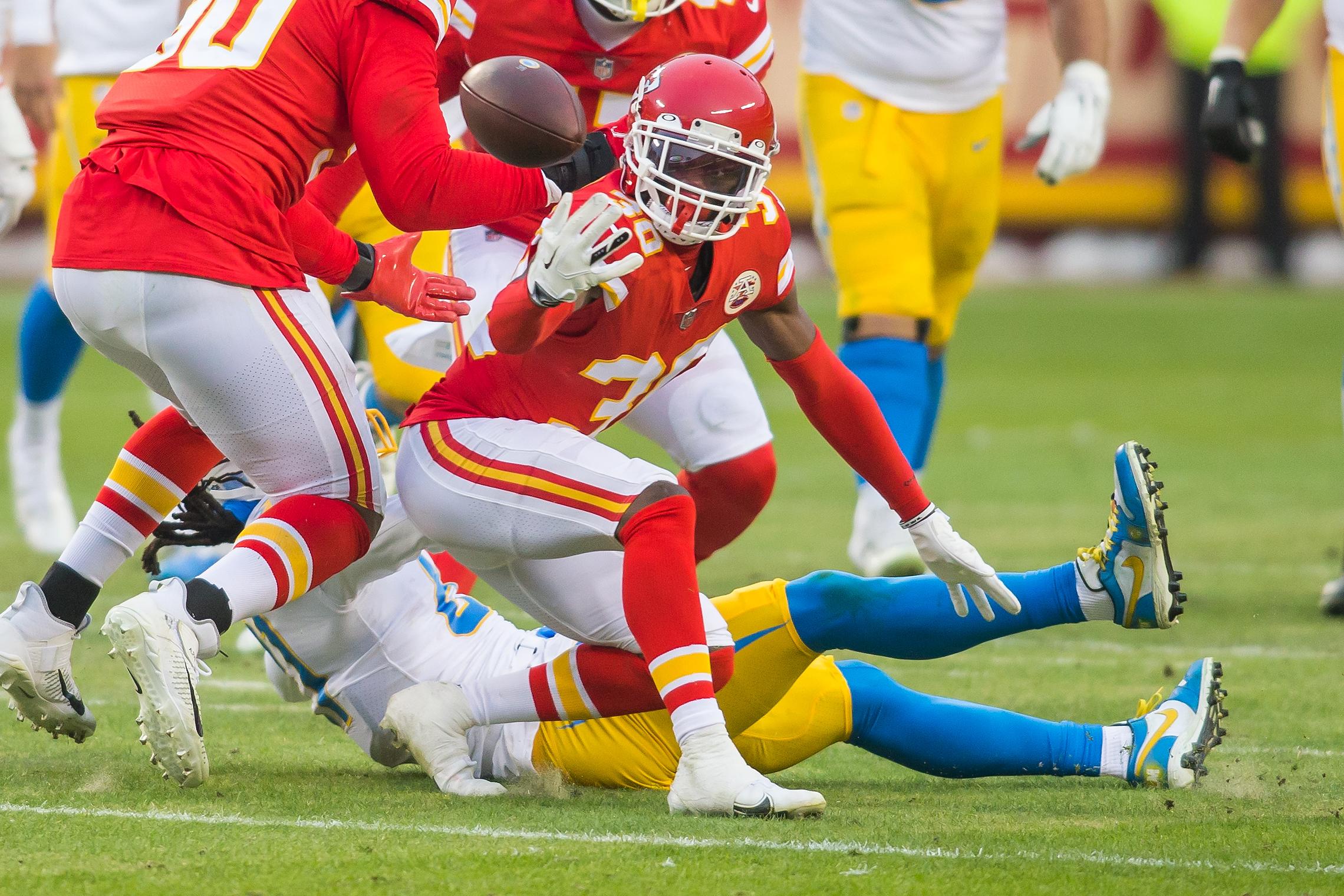 Chiefs cornerback Deandre Baker before he breaks his femur against the Chargers