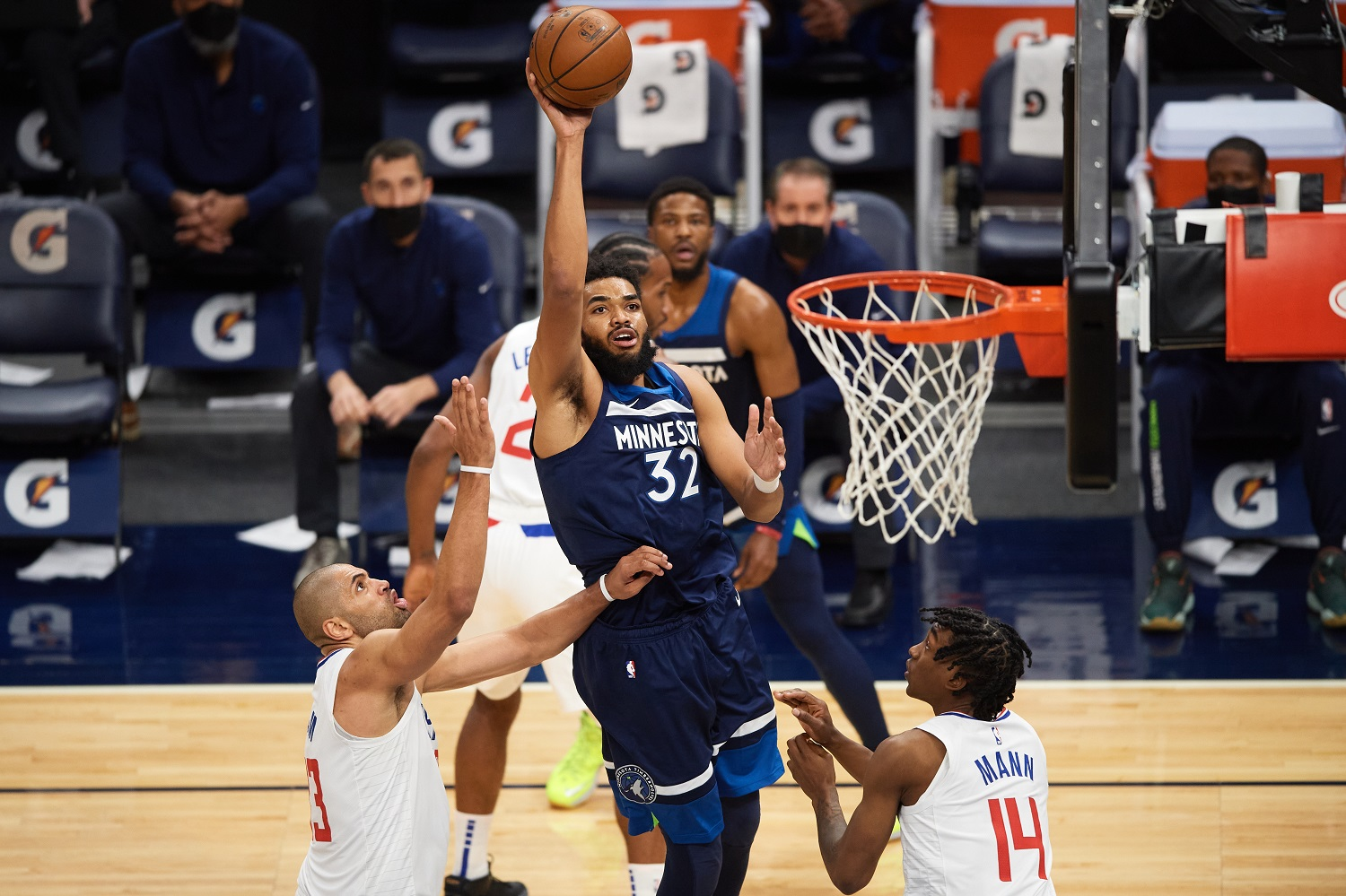Karl-Anthony Towns returned to action for the NBA's Minnesota Timberwolves on Feb. 10, 2021.