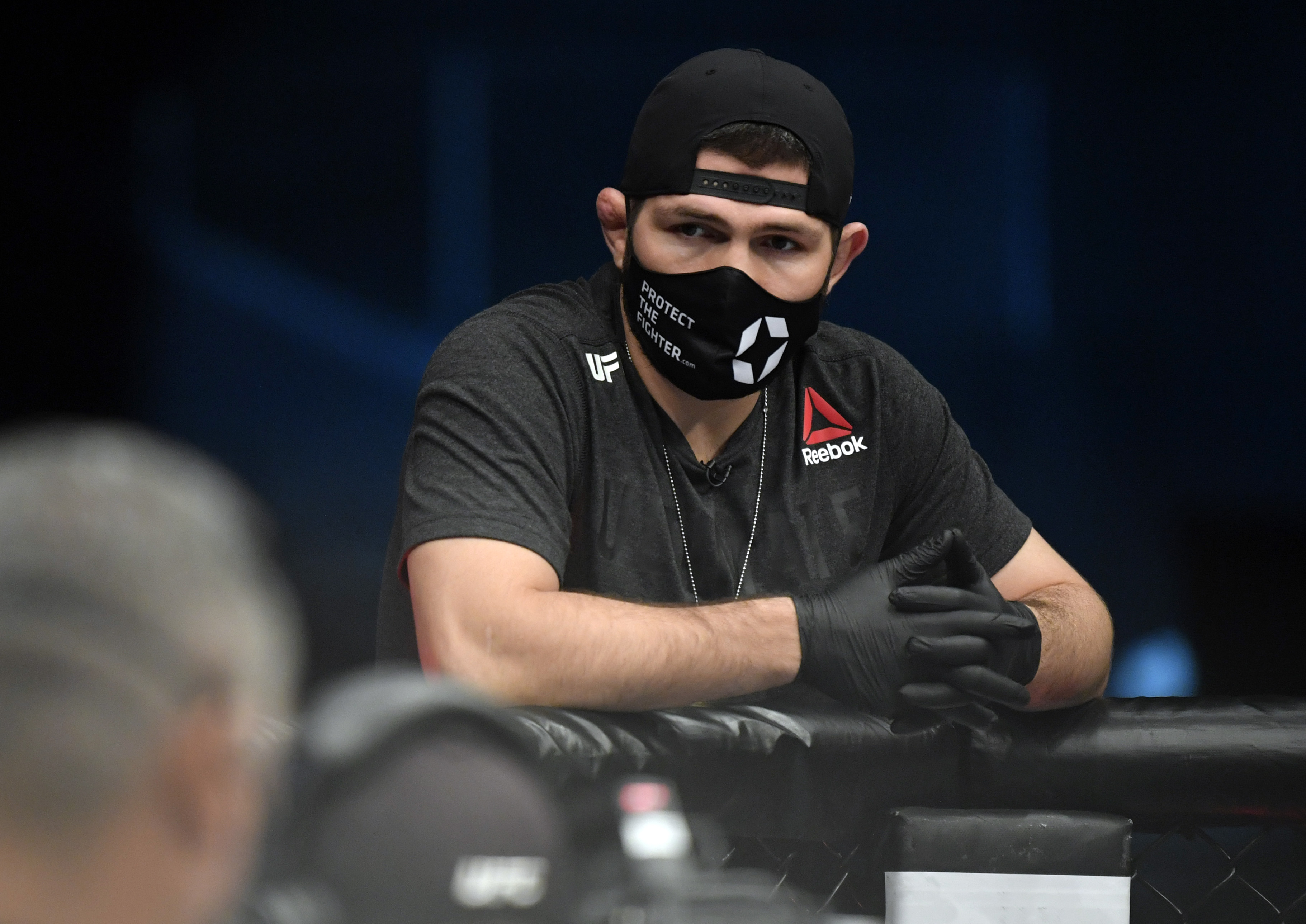 MMA fighter Khabib Nurmagomedov at a 2021 UFC Fight Night event