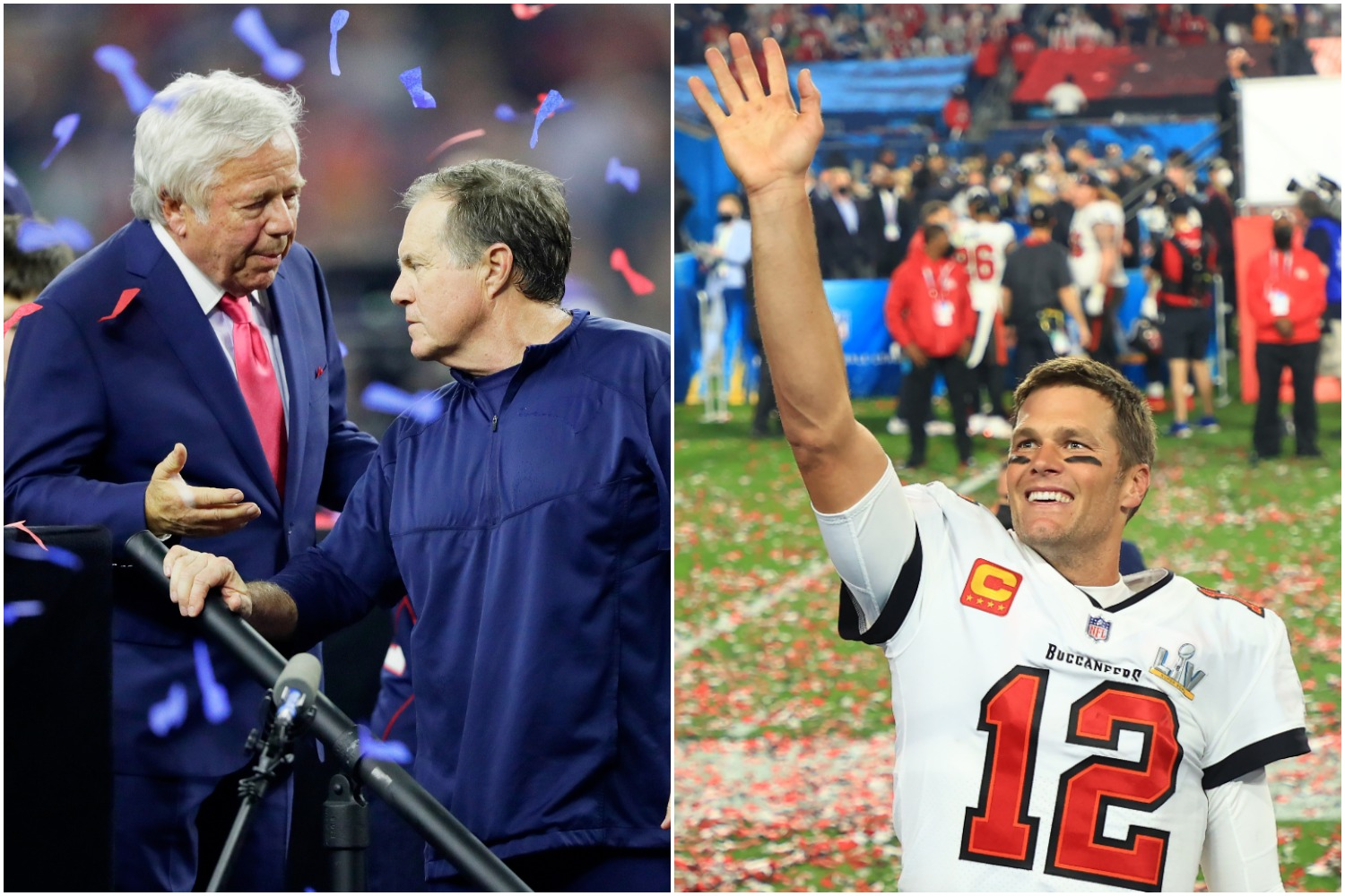 Patriots owner Robert Kraft talks to Bill Belichick after Super Bowl 51 as Tom Brady celebrates winning Super Bowl 55 with the Buccaneers.