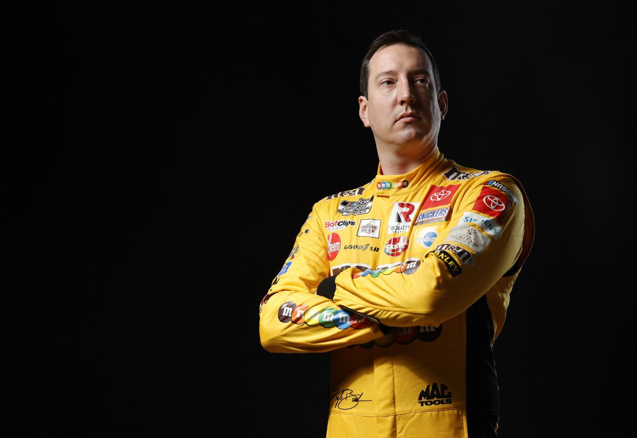 Kyle Busch poses for a photo during the 2021 NASCAR Production Days.