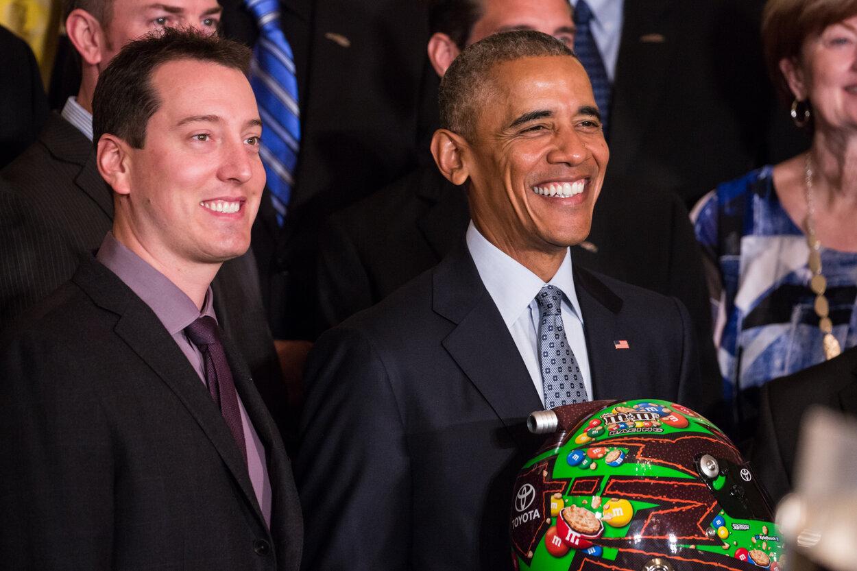 NASCAR driver Kyle Busch (L) and U.S. President Barack Obama in 2016.