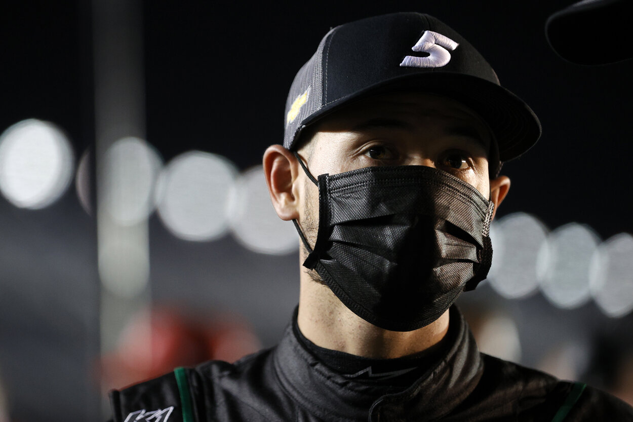NASCAR driver Kyle Larson before a 2021 race.