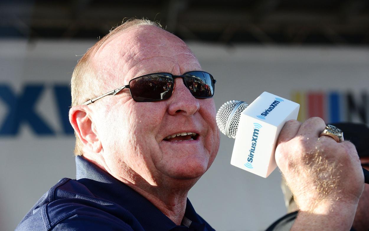 DAYTONA BEACH, FL - FEBRUARY 15: Larry McReynolds speaking on stage with SiriusXM NASCAR Radio at the Daytona 500 on February 15, 2018 in Daytona Beach, Florida. (Photo by Gerardo Mora/Getty Images for SiriusXM)