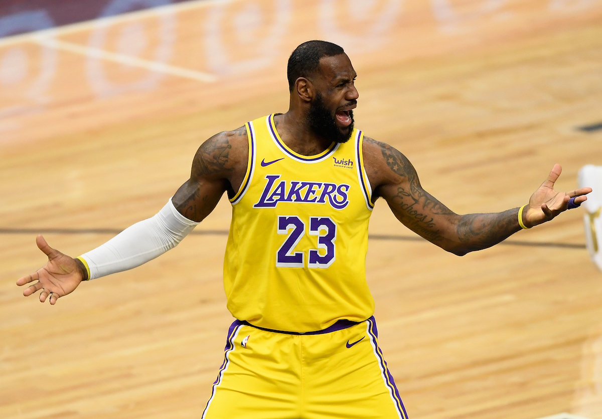 Los Angeles Lakers star Lebron James reacts to a call
