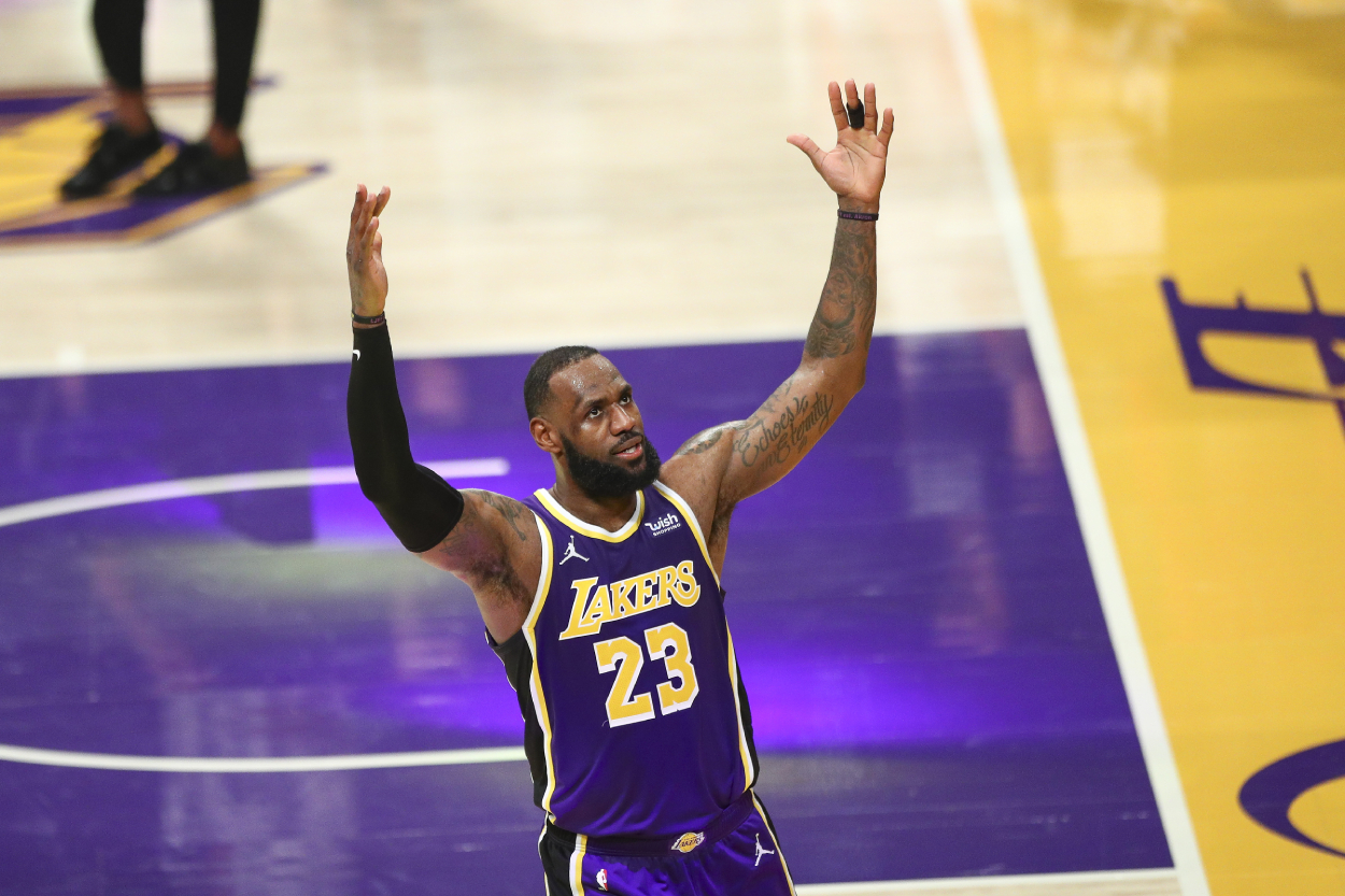 NBA superstar LeBron James celebrates with the LA Lakers.