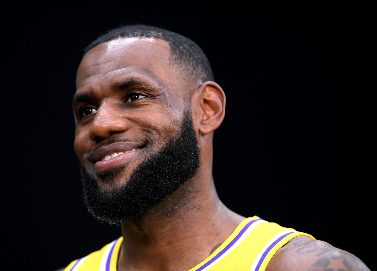 LeBron James of the Lakers during media day.