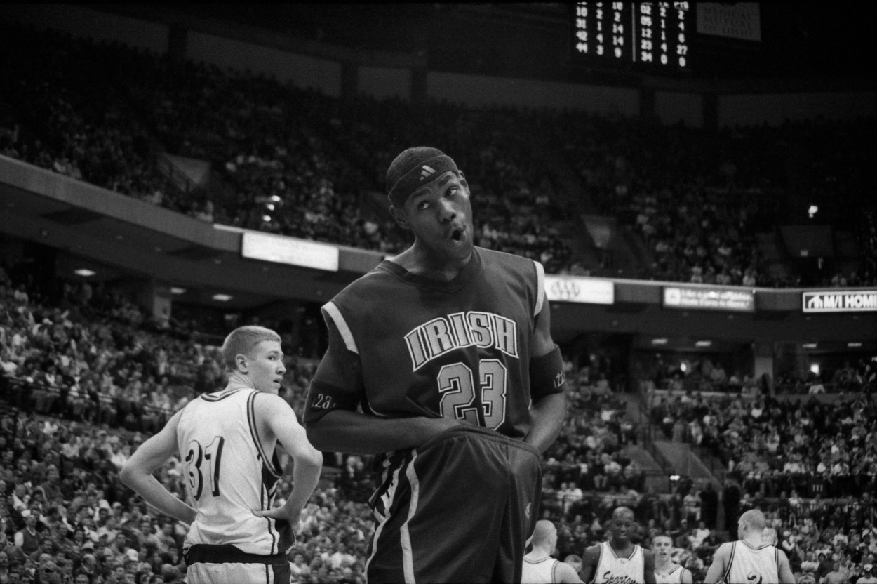 LeBron James playing for St. Vincent-St. Mary High School.
