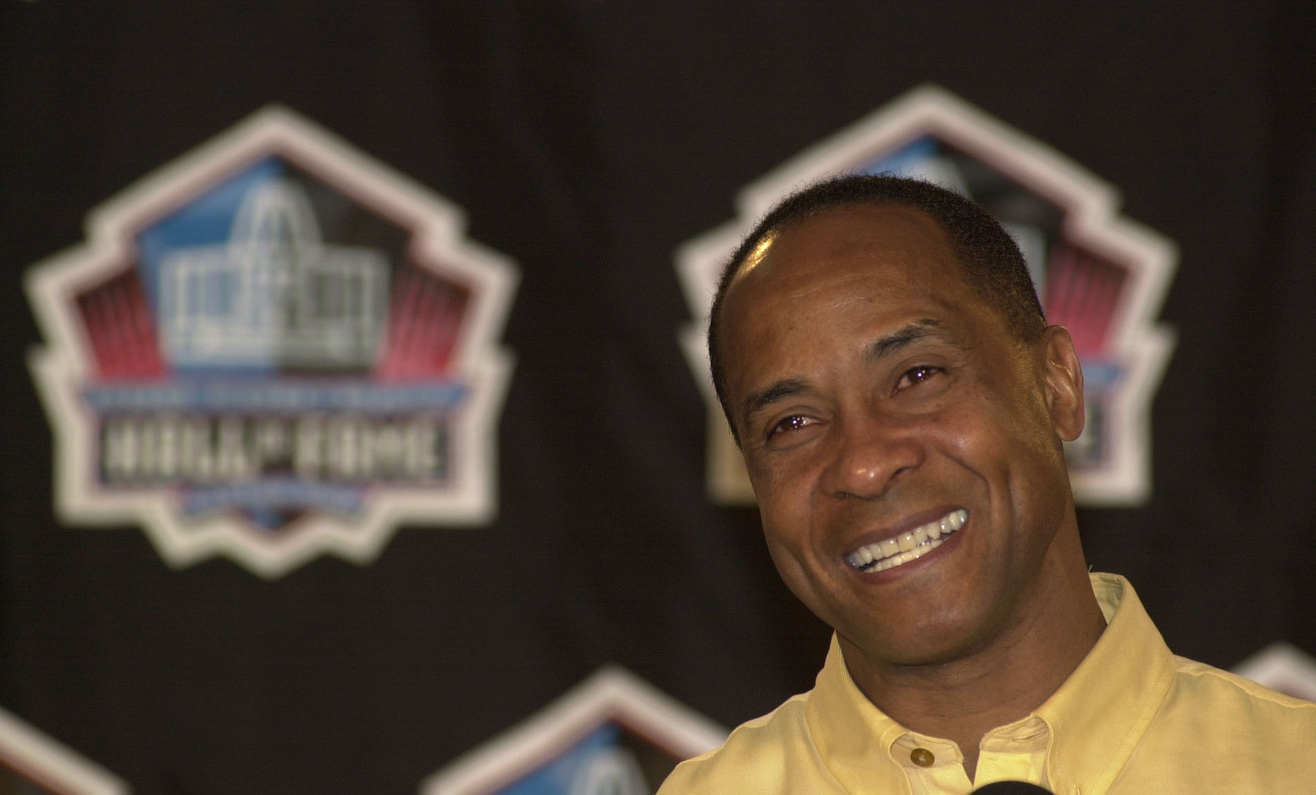Lynn Swann speaks to the media at the Hall of Fame