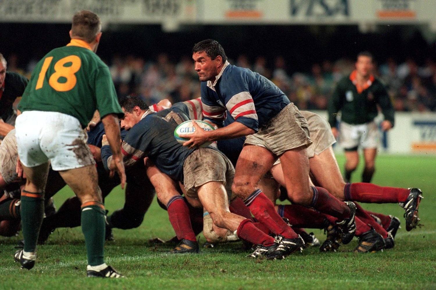 Marc Cecillon of France attacking with the ball in hand as France takes on South Africa in the Rugby World Cup.