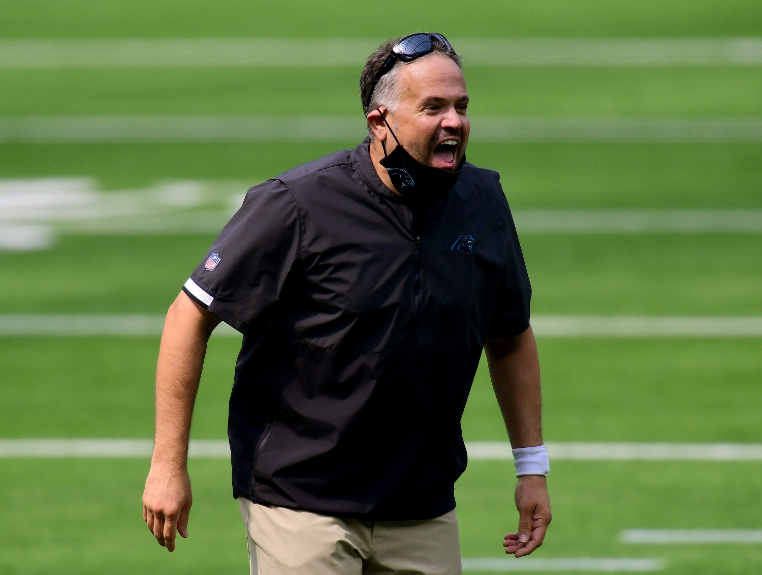 Head coach Matt Rhule of the Carolina Panthers yells to his team during warm up before the game against the LA Chargers.