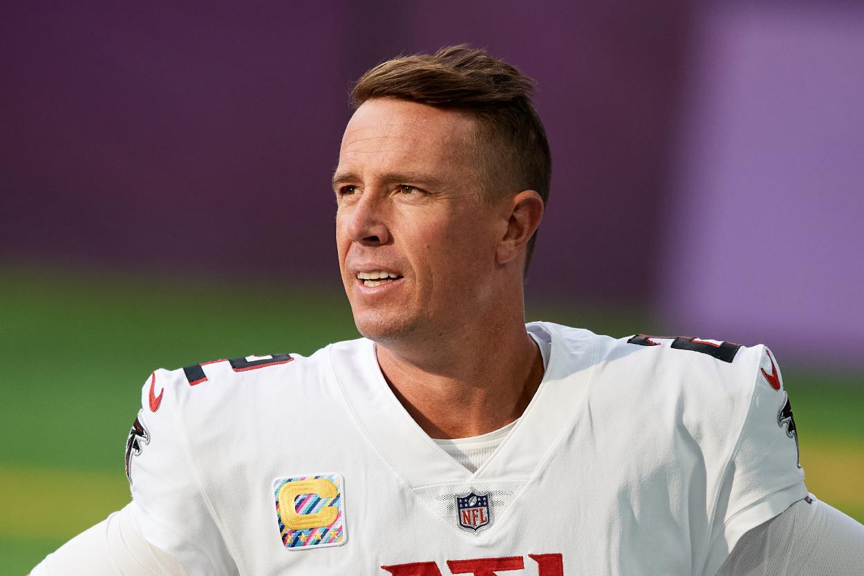 Atlanta Falcons quarterback Matt Ryan looks on before a game against the Vikings.