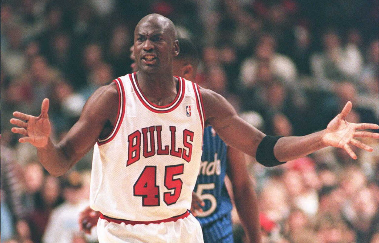 Chicago Bulls legend Michael Jordan during a 1995 game.