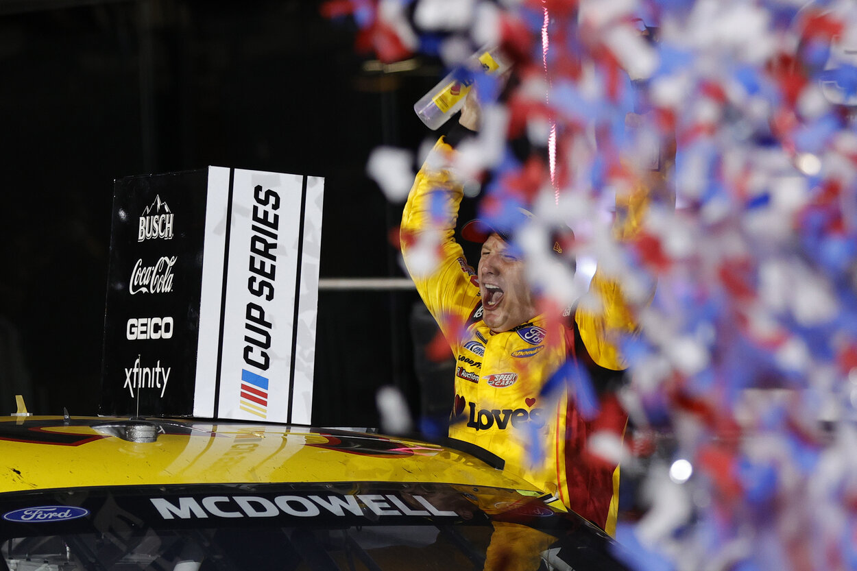 NASCAR driver Michael McDowell after winning the 2021 Daytona 500.
