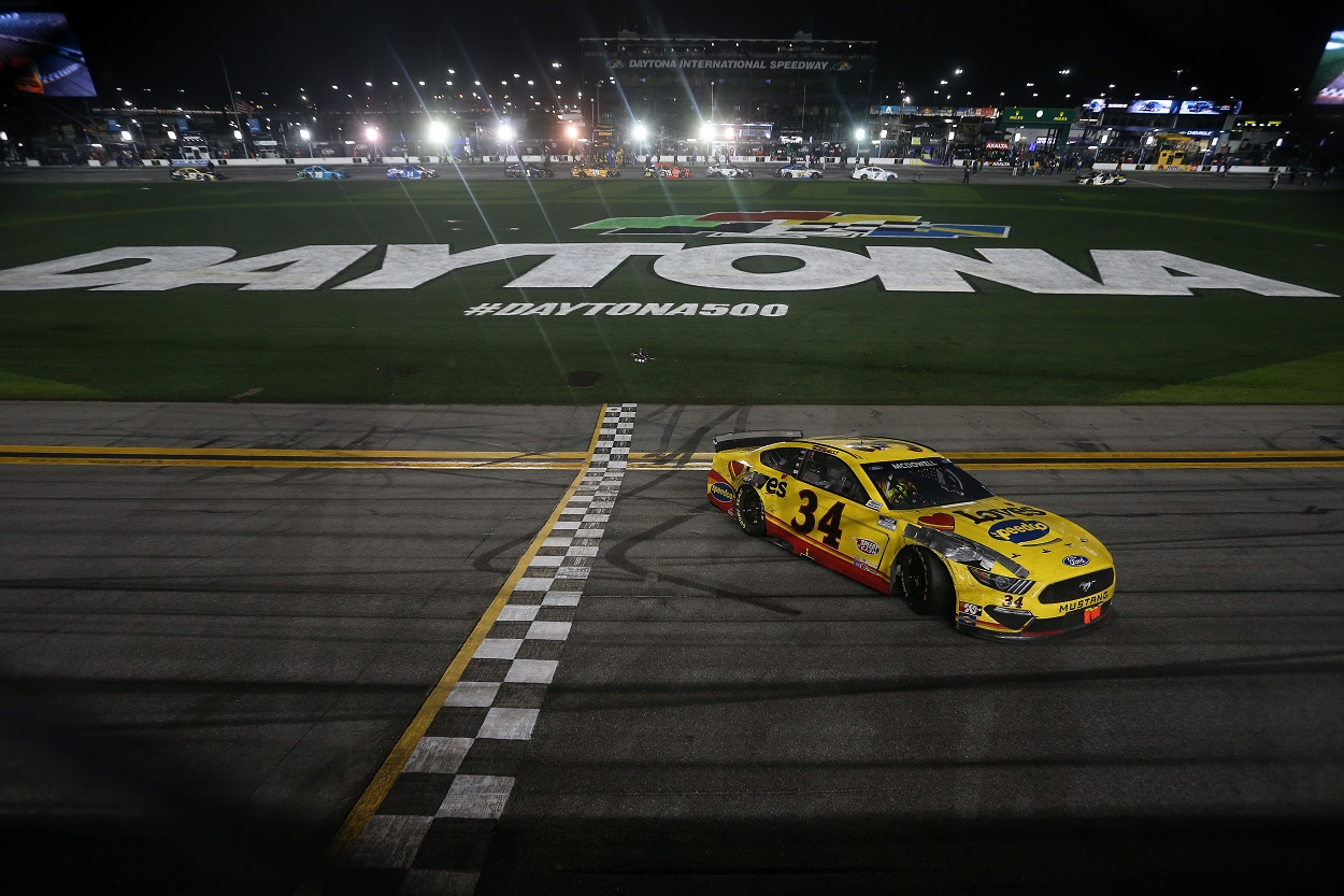 Michael McDowell at the finish line of the NASCAR Daytona 500 at Daytona International Speedway
