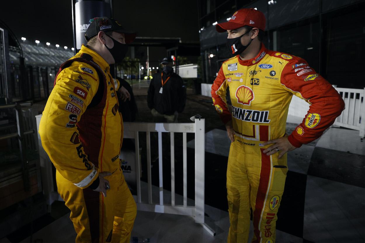 NASCAR's Michael McDowell and Joey Logano talk after the 2021 Daytona 500