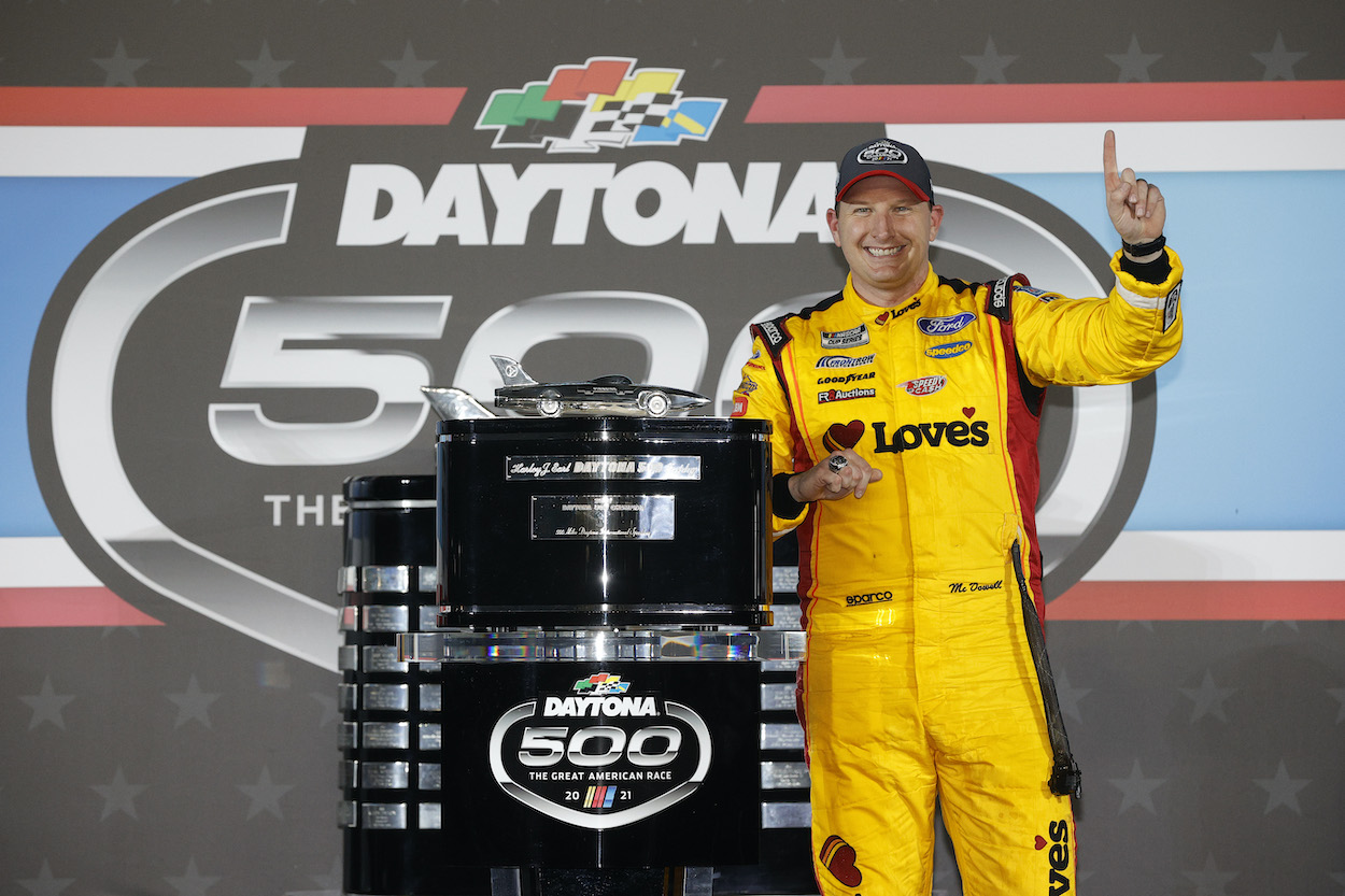 NASCAR driver Michael McDowell poses after winning the 63rd annual Daytona 500