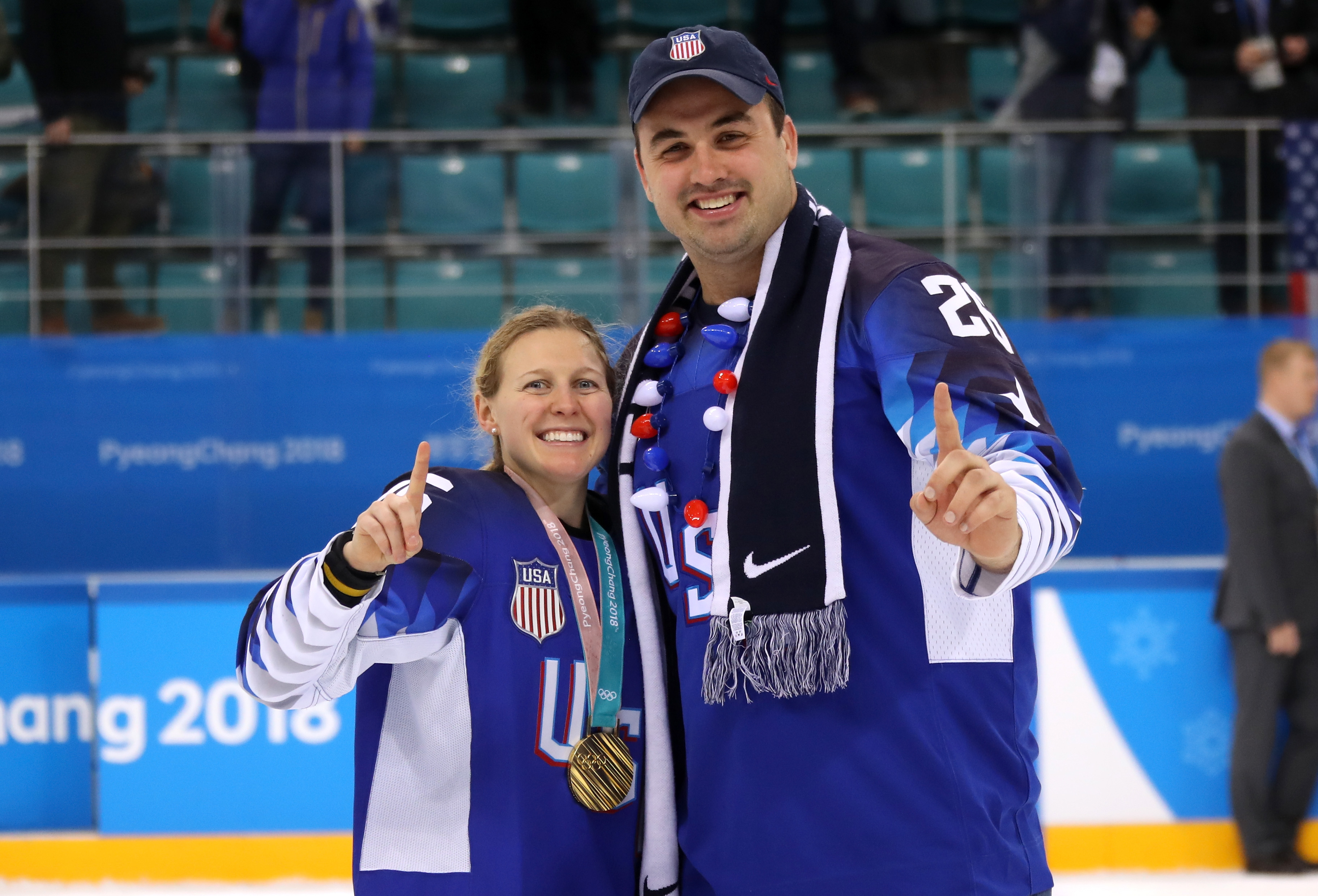 Kendall Coyne celebrates with husband and NFL player Michael Schofield