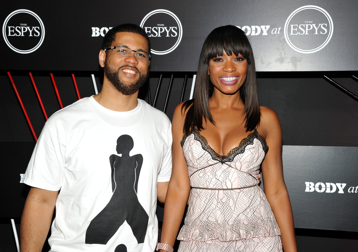 ESPN announcers Michael Smith (L) and Cari Champion in 2017.