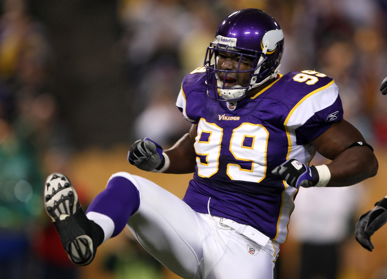 Napoleon Harris, who was a first-round NFL draft pick with the Raiders, in a picture while playing on the Minnesota Vikings.