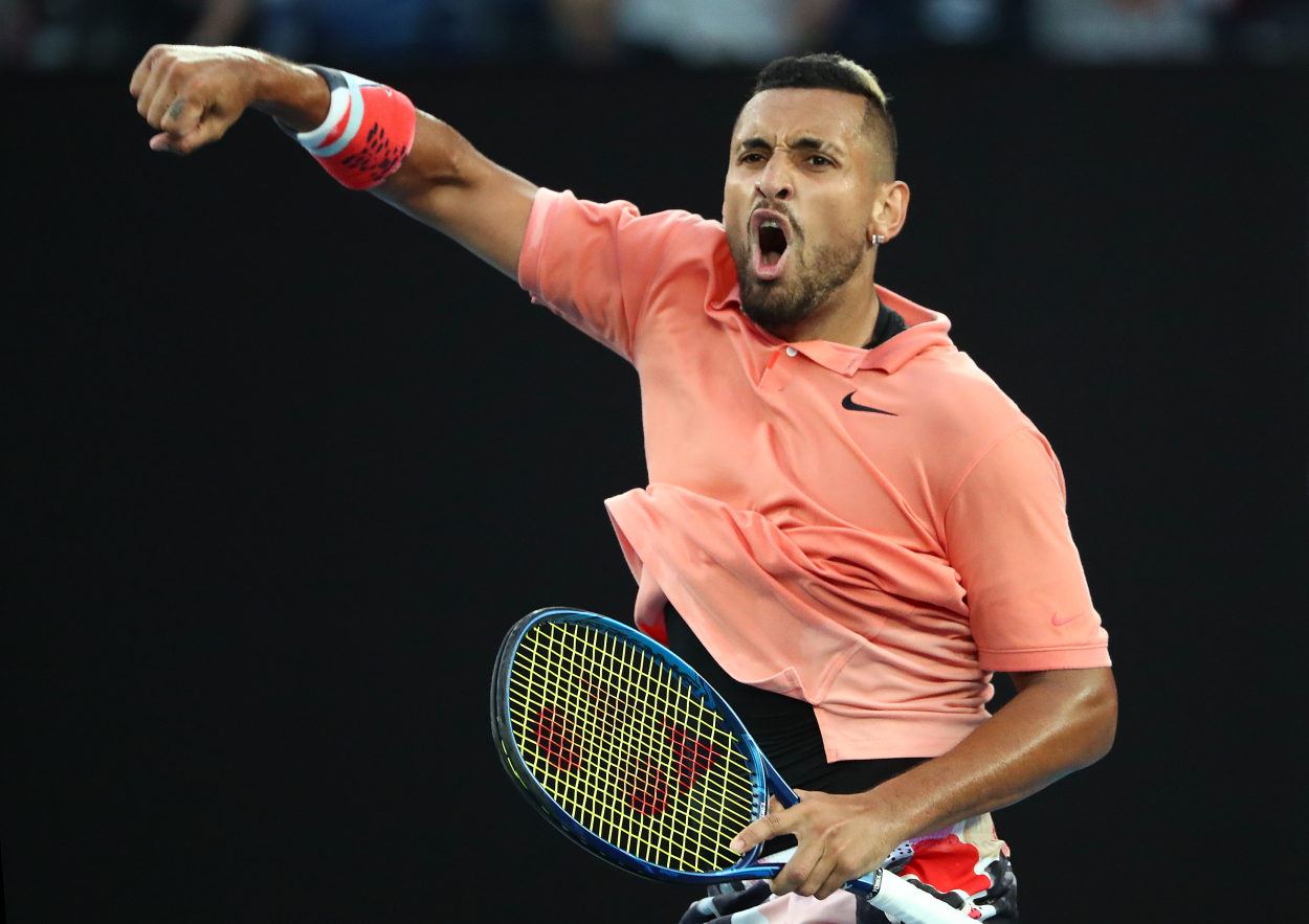 Nick Kyrgios celebrates at the the 2020 Australian Open.
