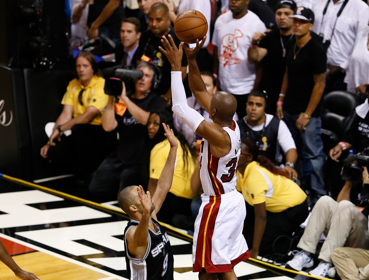Miami Heat sharpshooter Ray Allen drains a clutch three-pointer in Game 6 of the 2013 NBA Finals